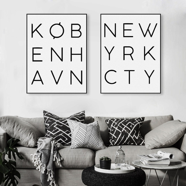 Modern Black White New York City Typography Poster Nordic Minimalist Wall Art Picture Prints Home Decor Canvas Painting Custom