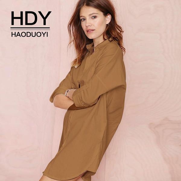HDY Haoduoyi Uzun Kollu Gömlek Iş Elbiseleri Kadın Ofis Üstleri Artı Boyutu Streetwear Kadınlar Katı Moda Lady Bluz toptan