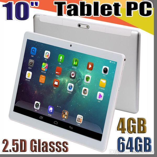 De haute qualité 10 pouces IPS MTK6580 2.5D glasss tablette 3G GPS écran tactile capacitif dual sim pc 10