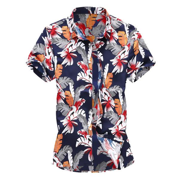 MUQGEW гавайские рубашки хлопок 2019 лето Мужчины Повседневная Лето Печатные Кнопки Гавайские Рубашки С Коротким Рукавом Топ Блузка # G4