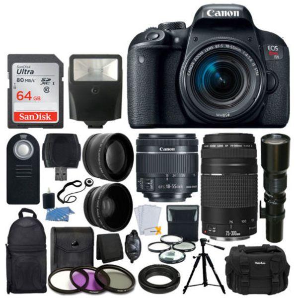 Yeni Marka Canon EOS Asi T6 DSLR Kamera ile 18-55mm OLDUĞU II Lens Paketi + Canon EF 75-300mm f / 4-5.6