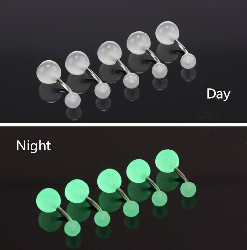 Fashion Luminous Belly Button Rings for Girls Sexy Women Belly Piercing Barbell Surgical Steel Navel Piercing Body Jewelry Rings