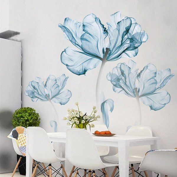 New 110*180 Cm Large 3d Blue Flower Living Room Decoration Vinyl Stickers Diy Modern Bedroom Home Decor Poster Wall Art Q190522
