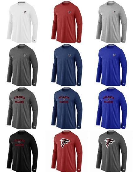 Nouveau style Atlanta Hommes Falcons Sideline Team Logo T-shirt de performance Sweat à manches longues