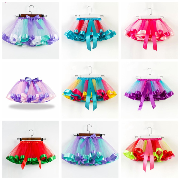 19 colors baby girls tutus rainbow color girl tutu skirts with bow kids mesh cake layer performa dresses fit 2-11 years