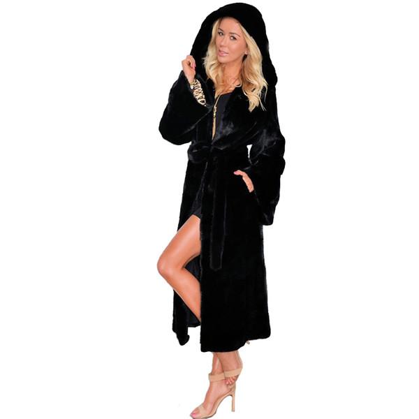 Donna Inverno Nero Moda femminile Capispalla Plus Size Cappotti Cappotto caldo Giacca a vento con cappuccio Cappotto in pelliccia sintetica Giacca lunga in pelliccia di volpe 4XL
