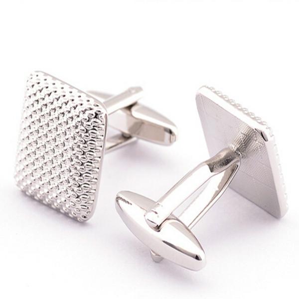 Gümüş Kaplama Metal Kare Shape Gömlek Erkekler için Moda Kol Düğmeleri Kol Düğmeleri