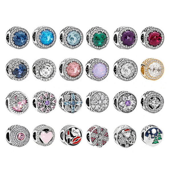 Auténticos 925 perlas de plata esterlina Fit Pandora Original DIY pulsera del encanto del collar de plata 925 perlas de Navidad accesorios de joyería de moda