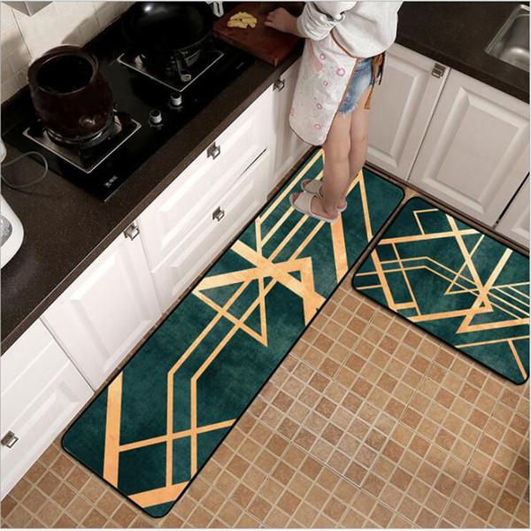 Fashion Nordic Light Luxury Green Metal Wind Gold Line Kitchen Mat Entry Mats Bedroom Bedside Blanket Area Rug Carpet Bedroom