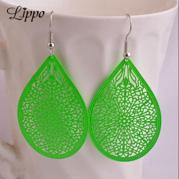 Dangle Earrings 2 pairs Summer Style Cheap Water Drop Earring Black White Green Purple Copper Filigree Big Dangle Earrings for woman