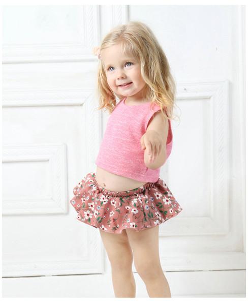 Floral Baby Weste + PP Hosen Sommer Weibliche Baby Zweiteiler Lässig Niedlichen Säuglings Tops Hose Kleinkind Kleidung