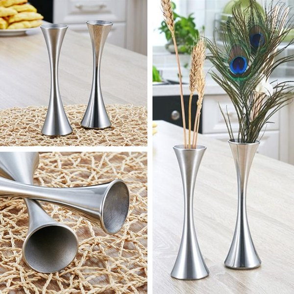 Creative vase stainless steel vase modern flower arrangement personality wedding vases decoration table surface single small vases T8I040