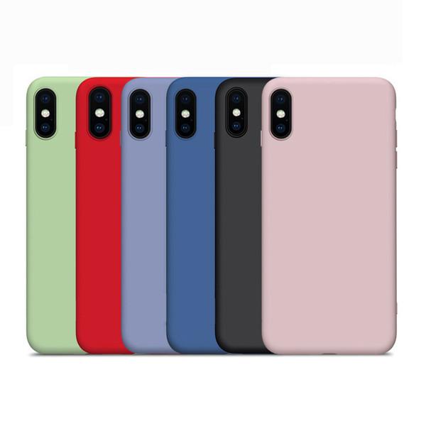 Custodia in silicone liquido per iPhone Xs Max Xr X 8 7 6 Plus Cover in gomma antiurto per telefono