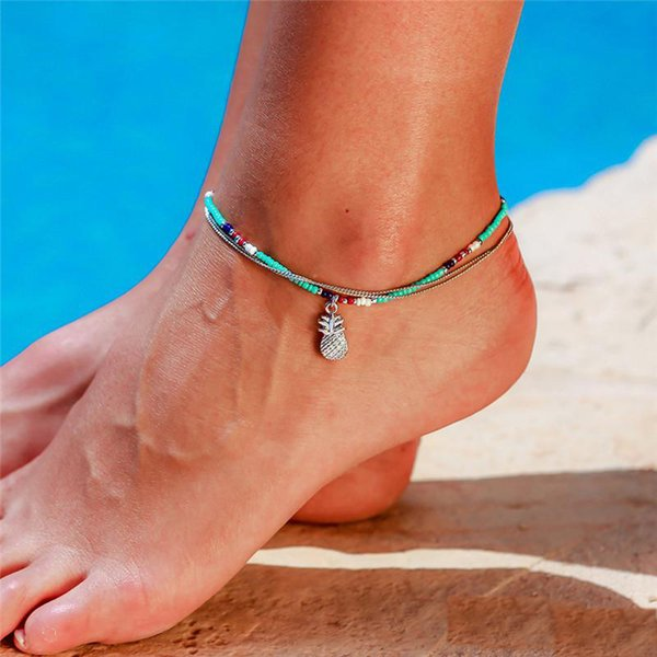 Hot Sale Bohemian Beach Vacation Anklet Bracelet Blue Beaded Pineapple Charm Double Chain Anklet for Woman Man Jewelry 2019