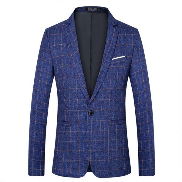Клетчатый пиджак мужской моды с одной пряжкой повседневная решетка пиджак большой размер S-5XL мужской деловой случайный тонкий