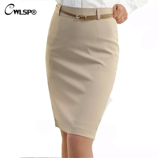 Cwlsp 2018 Summer High Waisted Skirt Womens Ol Formal Work Wear Ladies Midi Skinny Pencil Skirts With Belt Plus Size S-3xl Y19060301