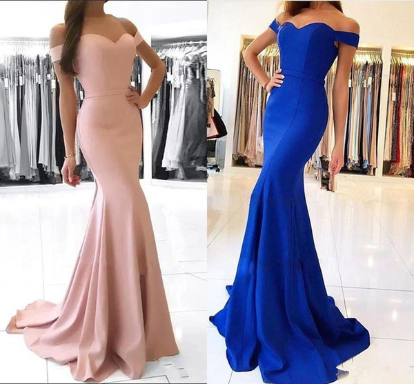 Cheap Dusty Pink Off Shoulder Mermaid Prom Dresses Vintage Sheath Evening Gown Long Formal Satin Bridesmaid Party Dress BM0983