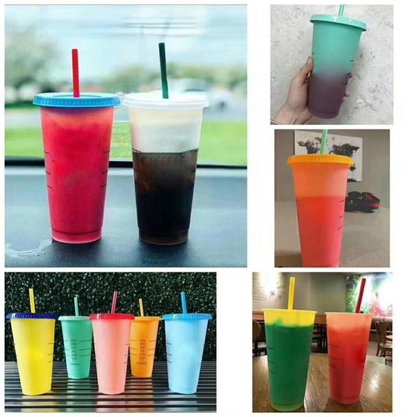 Ins Hot Cold Corlor Change Mug 700ml 5pcs/set with Lid Straw Food grade PP Magic Thermosensitive Cup Creative Gift Cups for Kids in stock