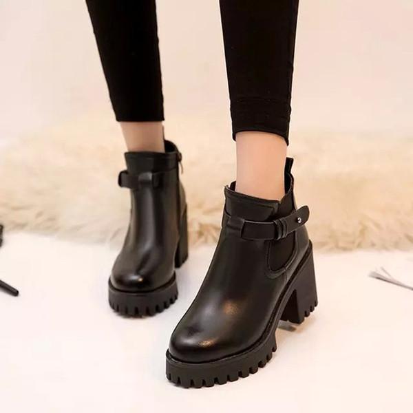 2018 NEUER Retro dick mit hohen Stiefeln Gürtelschnalle kurze Stiefel weiblich Nach dem Reißverschluss kurze Martin