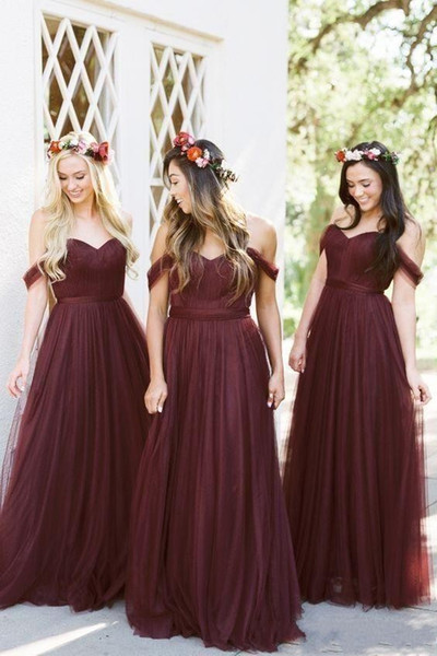 2019 New African Burgundy Bridesmaid Dresses A Line Off Shoulder Sweetheart  Plus Size Custom Party Wedding Guest Dress Maid Of Honor Gowns Plus Size ...