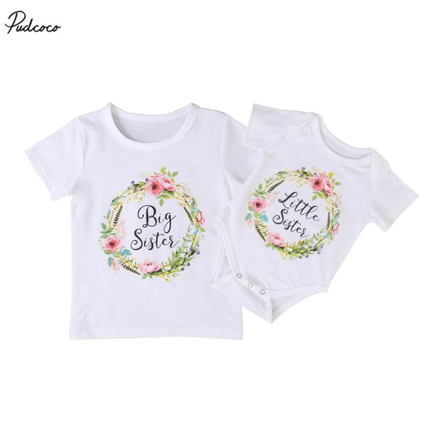 Family Clothing Set Baby Kids Girls 2017 New Little Big Sister Short Sleeve Clothes Jumpsuit Romper Outfits T Shirts