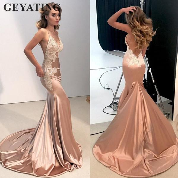 Sexy V-Neck Open Back Mermaid Prom Dresses Long 2019 Elegant Women Rose Gold Champagne Satin Formal Evening Dress with Straps