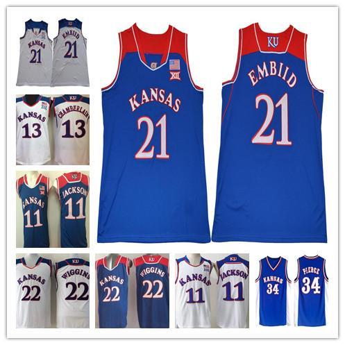 Top Quality Kansas Jayhawks College Basketball 34 Paul Pierce Joel 21 Embiid Men 11 Josh Jackson 13 Wilt Chamberlain Jerseys