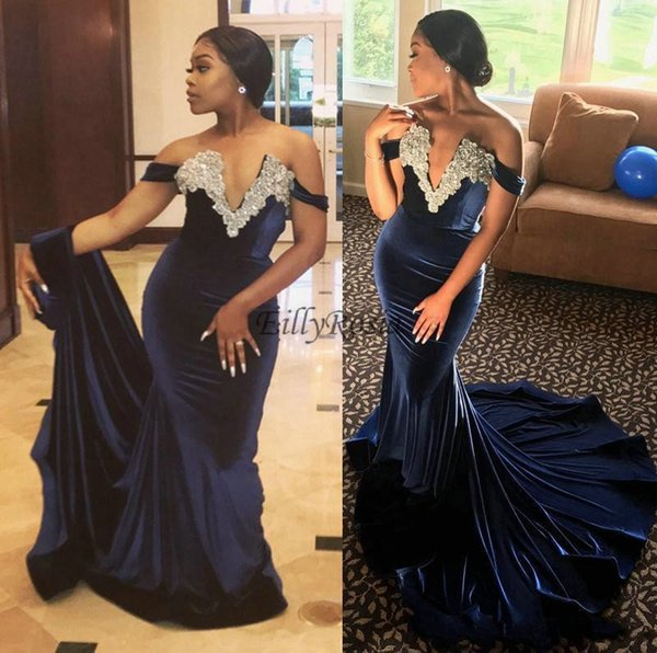 cc800bd894599 Dark Navy Blue Mermaid Velvet Prom Dresses 2019 Appliques Beading Sequins  Off The Shoulder Sexy Evening Party Gowns Women Robe De Soiree Different ...