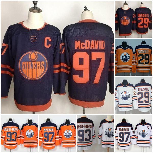 top popular Edmonton Oilers 2019-2020 Third Jersey 97 Connor McDavid 99 Wayne Gretzky 29 Leon Draisaitl 93 Ryan Nugent-Hopkins Hockey Jersey Blue Orange 2019