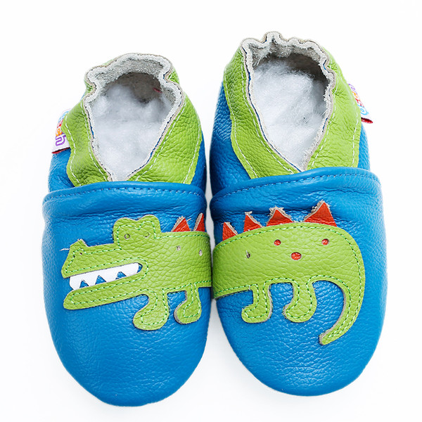 Baby Boys' Crawling Slippers Infant And Toddler Shoes Soft Leather Suede Sole First Walking Moccasins Skid-proof Dinosaurs J190622