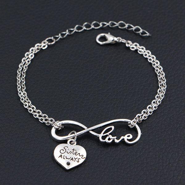 2019 Minimalist Silver Color Double Infinity Love Sister Always Best Friends Pendants Charm Bracelets For Women Men Chain Friendship Jewelry