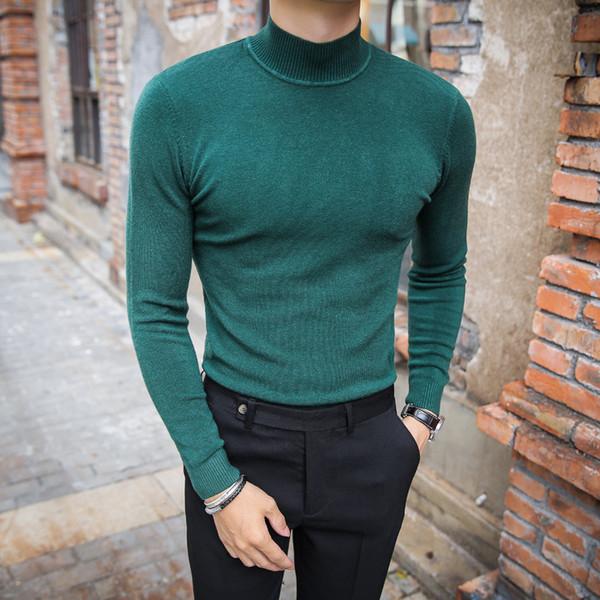 MRMT 2018 Marke männer Pullover Reine Farbe selbst kultivierung Pullover für Männliche Lange Ärmel Semi High Kragen Lässig