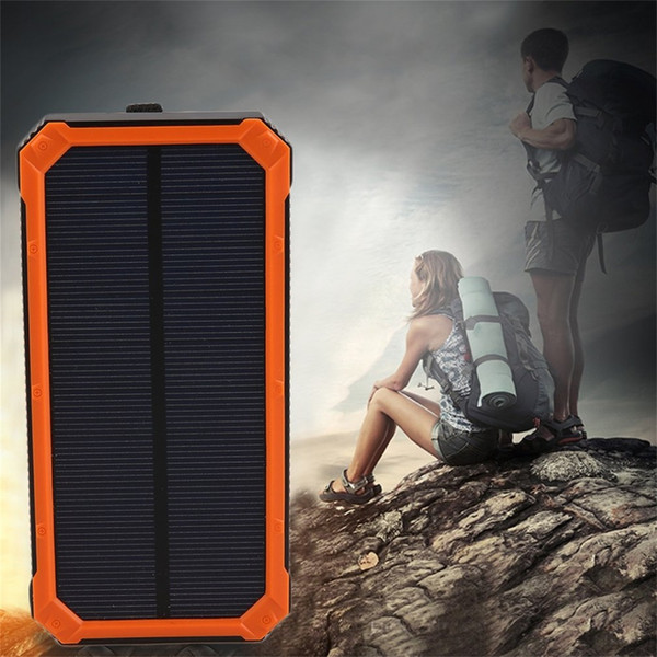 General 20000MAH Waterproof Solar Power External Power Bank With LED Light For Mobile Phones with Cable For iPhone Samsung