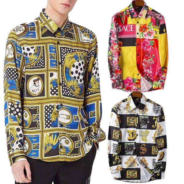 Chemise Oxford 2019 New Luxury Designer Floral Herren Print Blue Skull Stilvolle Shirts Langarm Kausal Slim Button Kleid Kleidung Mann Hemd
