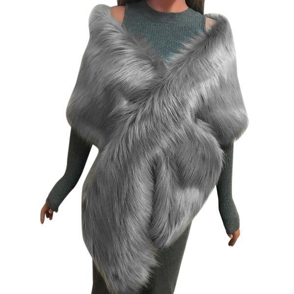 Women Faux Fox Fur Long Shawl Stole Wrap Shrug Scarf Bridal Wedding Winter Thick Warm Pashmina Large Size echarpe hiver femme A9