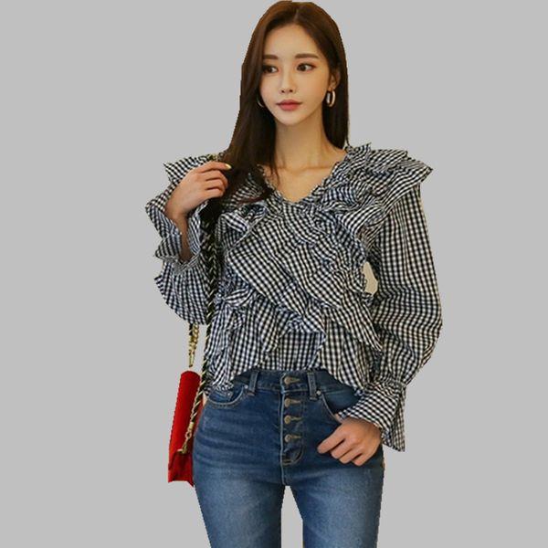 HAMALIEL Coreano moda Ruffles camicia Blusas Top Estate delle donne nero bianco Plaid Flare Sleeve Blouse Vintage Lace Up Clothes