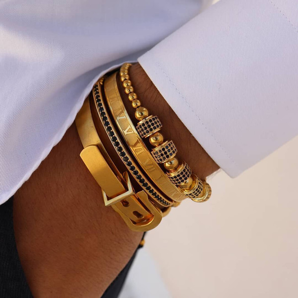 top popular 4pcs Set Hot Men Titanium Steel Roman Numeral Bracelet Horseshoe Buckle Bangles Pulseira Bileklik Luxury Handmade Jewelry 2021