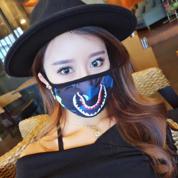 Media cara Máscara de tiburón en la boca Hip Hop Moda Colorido Camuflaje Earloop Elástico Anti-Polvo Mufla Creativa Máscara de dibujos animados en la boca DLH264