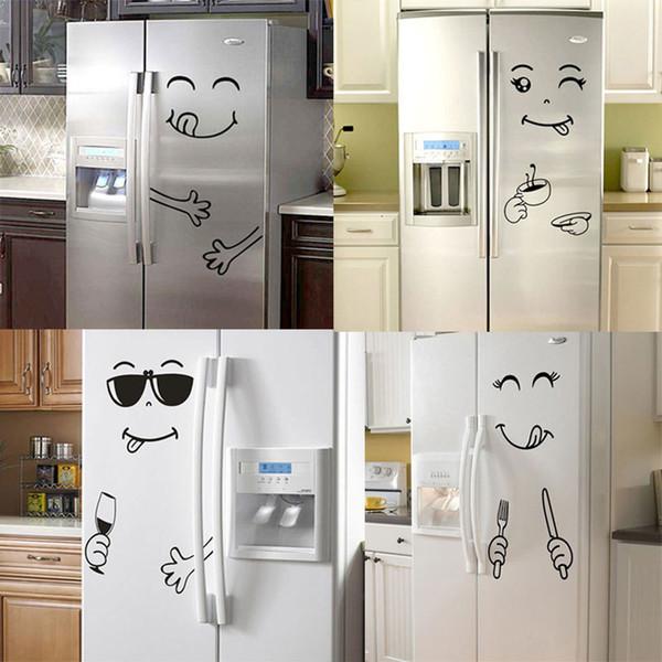 Nuevos 4 estilos Smile Face Wall Sticker Happy Delicious Face Fridge Stickers Yummy para alimentos Muebles Decoración Art Poster DIY PVC