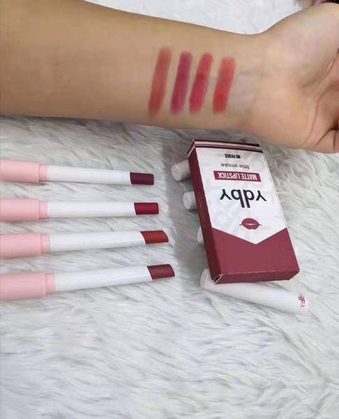 top popular Ydby 4 Colors Matte Long Lasting Waterproof Cigarette Lipstick Fog Surface Sexy Nude Lip Gloss Maquillaje Batom 4pcs set DHL free 2020