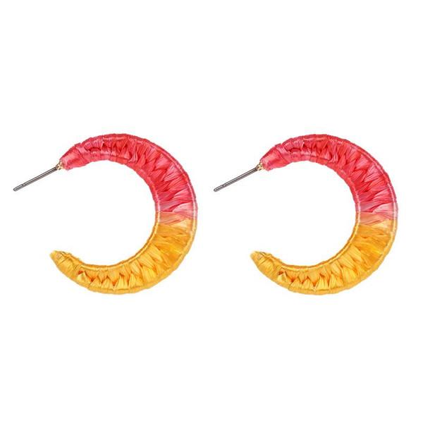 Handmade Rainbow Color ráfia tecida Brincos Simples C-shape Alloy Stud Brincos para Mulheres 2019 de Moda de Nova Bohemian Jóias Acessórios