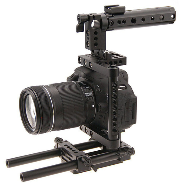 Freeshipping Aluminum Rod Rig DSLR Cage Top Handle Grip Camera Stabilizer Tripod Mount Plate For Canon Nikon Sony Panasonnic