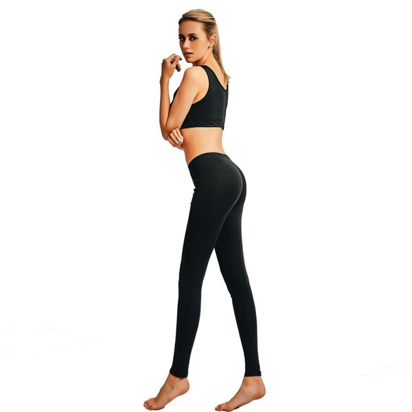 2019 Fashion High Quality Black T Shirts and Leggings Women Sports Fitness Wear Set Yoga Top and Pants Sets
