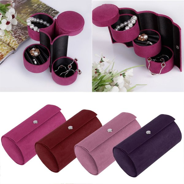 3 Layers Jewelry Boxes Display Gift Box Cylinder 2 jewelry Organizer Flannel Round Portable Travel Storage Makeup Carrying Case