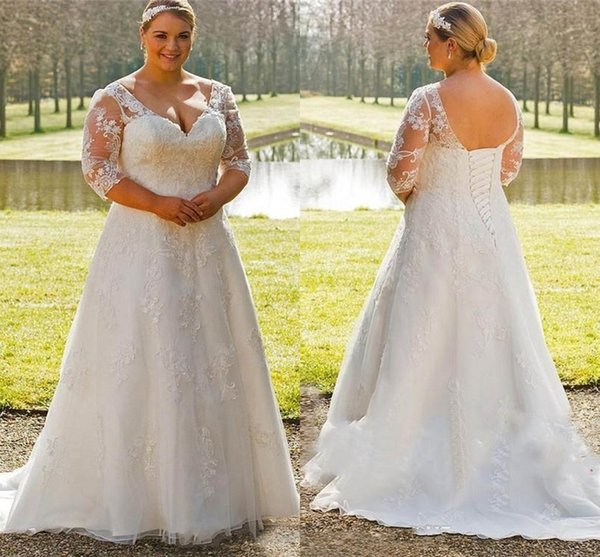 Discount Modest Plus Size Wedding Dresses A Line Half Sleeve Appliques Lace  Bridal Gowns Sweep Train Deep V Neck Custom Made White Wedding Dresses ...