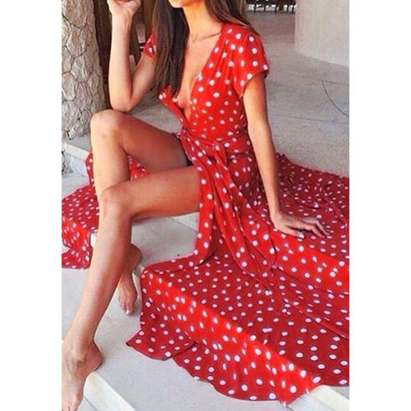 Drop Shipping New Fashion Chiffon Women Summer Short Sleeve Red Dot Long Fit And Flare V-neck Dress Jun20 designer clothes
