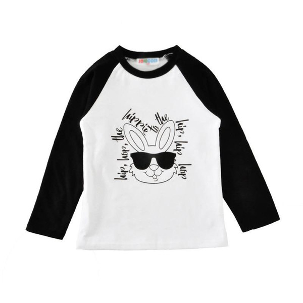 Easter 4 Color Autumn New Children's Clothing Hip Hop Sunglasses Rabbit Letter Rags Long-Sleeved T-shirt 12M-5Y Boys And Girls free ship