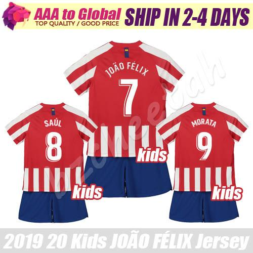 Kids JOAO FELIX jersey 19 20 CHILDREN KOKE DIEGO COSTA MORATA GODIN SAUL soccer jerseys Young Football shirts