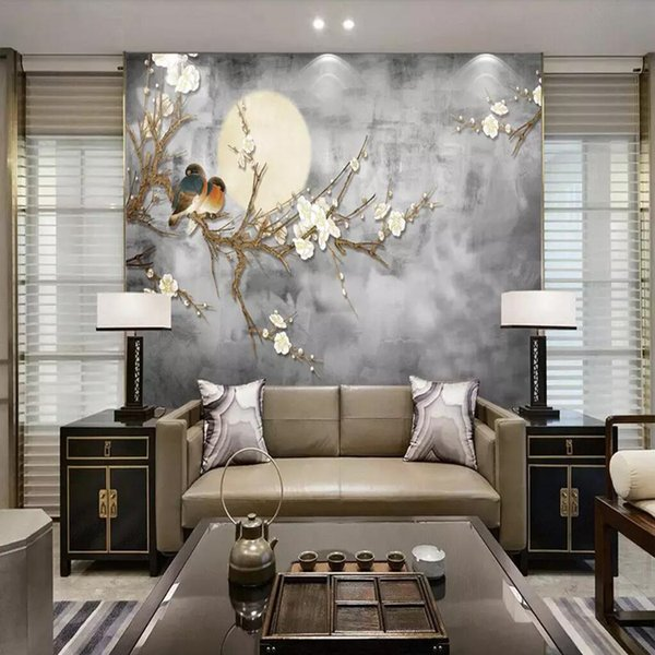 3d Chinese style pen and flower bird hand-painted flower and bird TV background wall Bedroom living room porch wallpaper mural