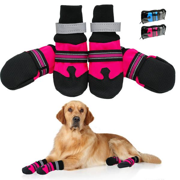 Großhandel 4 Stücke Rutschfeste Hund Schuhe Regen Tragen Wasserdichte Reflektierende Stiefel Tatzenschutz Outdoor Socke Für Mittelgroße Hunde Rose